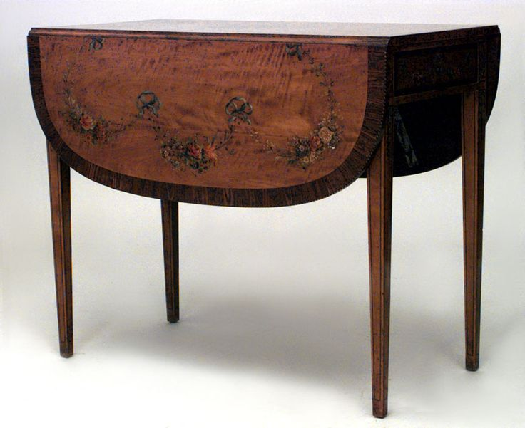 English Sheraton Style Polychromed Satinwood Pembroke Table End With A Rosewood Cross Banded Drop Leaf Top Over Frieze Drawer Tapering Square