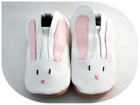 Handmade soft sole leather shoes  - Rabbit, pink-white, for baby, toddler, children, adult