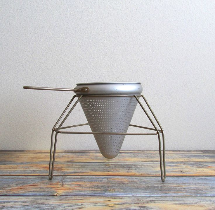 Vintage Aluminum Cone Strainer And Stand Chinois Canning