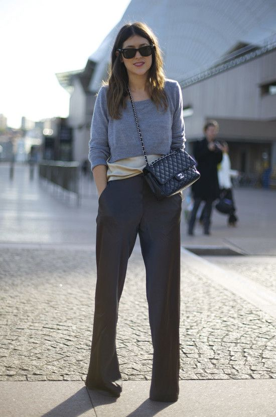 just love this... wide leg trousers, silk chiffon loose top in champagne and a cropped sweater in grey.   Accessories; Rayban classic black frame sunglasses and Chanel Quilted Flap (drool)