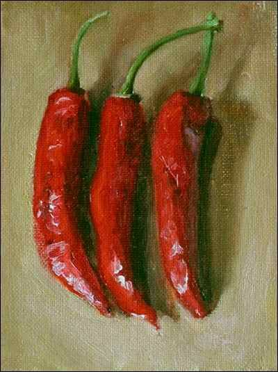 Daily painting titled  Three Red Chillies