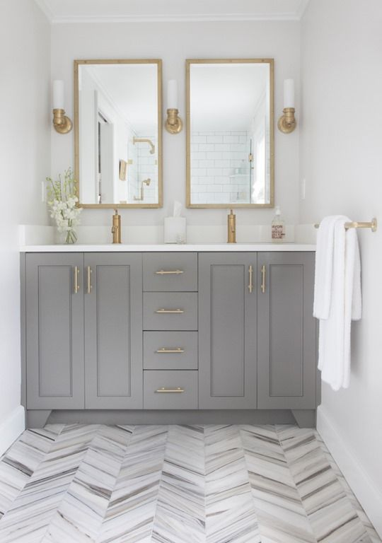 5 ways to update a bathroom - gray vanity marble chevron floor @centsationalgrl