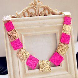 $4.52 Fashion Fluorescence Colored Square Design Women's Necklace