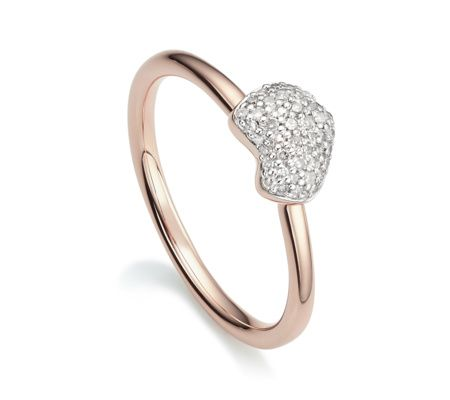 Perfect for stacking, this delicate ring features 43 sparkling pavé diamonds totalling 0.11 carats set in 18ct Rose Gold Vermeil on Sterling Silver. Nura Heart also features a mini bracelet and necklace. #MonicaVinader #jewellery #jewelry