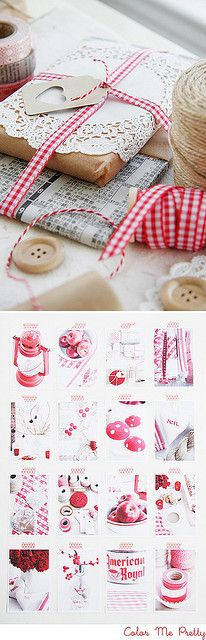 Red, white, & kraft paper brown gift wrap styles by Leslie of Color Me Pretty for decor8.