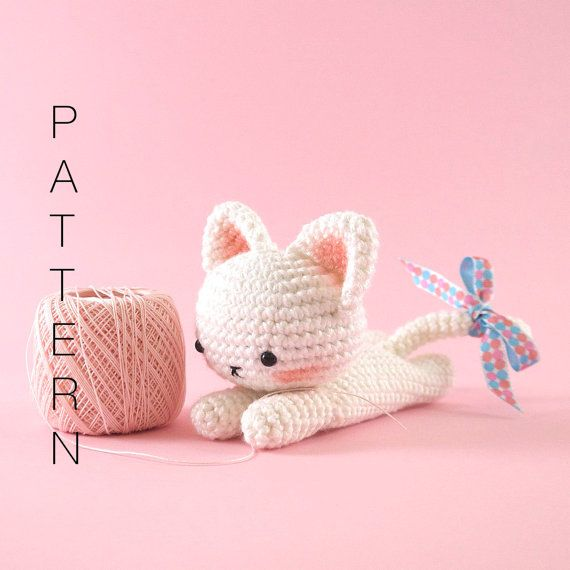 This is an original pattern (in English using American terminology) to create your own sweet little lying down kitty cat. Shes loves lazing around and always seems to get tied up in knots with the yarn she likes to spend hours playing with.  BEFORE YOU PROCEED PLEASE NOTE THAT THIS LISTING IS FOR THE PATTERN ONLY AND NOT THE FINISHED DOLL AND NO REFUNDS CAN BE OFFERED ON DIGITAL PURCHASES.  The pattern is suitable for intermediate crochet crafters who have knowledge of the basic stitches…