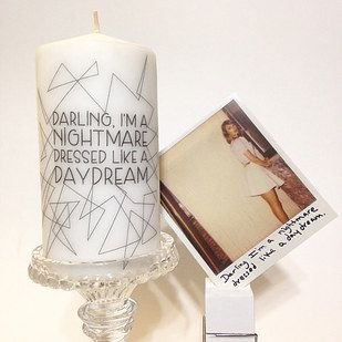 """A """"Blank Space"""" themed candle. 