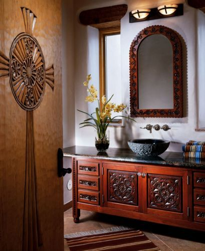 Flor Sylvester Mirror and Zaragosa Vanity: Southwest Furniture, Santa Fe Style: Southwest Spanish Craftsmen