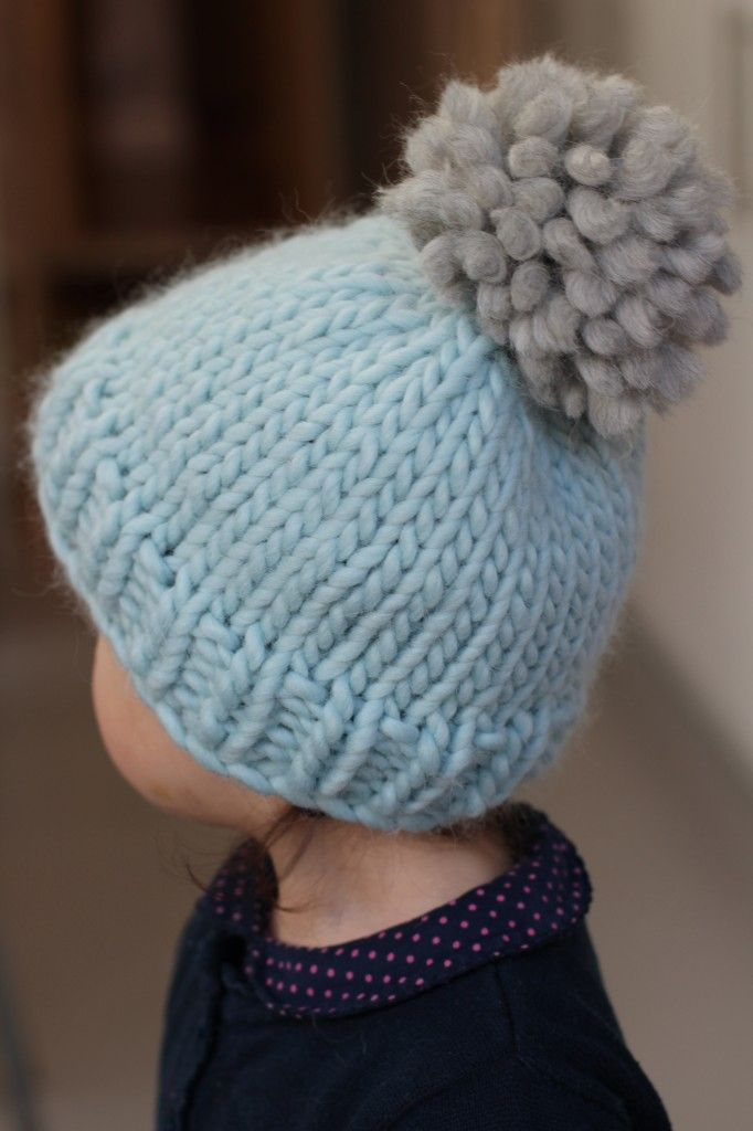 "Free easy hat knitting pattern for kids, easy bobble hat by Helen Stewart. Free beginners hat knitting pattern Blue Sky Alpaca Bulky or Rowan Big Wool Sizes from Baby (14"") to Man (22"")"