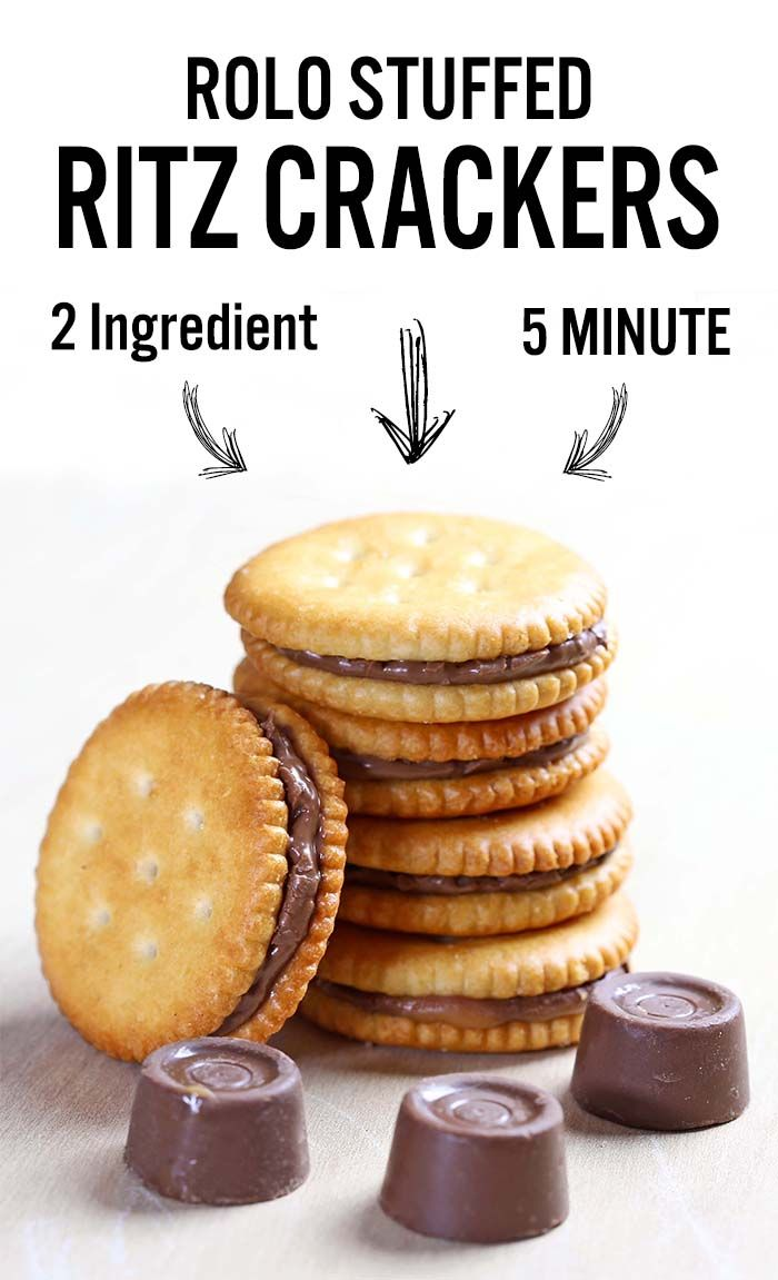 Rolo stuffed Ritz crackers - an awesomely easy-to-make salty-sweet, caramel-chocolate combo. Trust me. A match made in Heaven.
