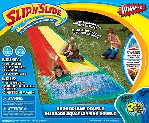Double 15-Foot Water Slip N Slide Outdoor Water Play Toy w 2 Inflatable Boogies #none
