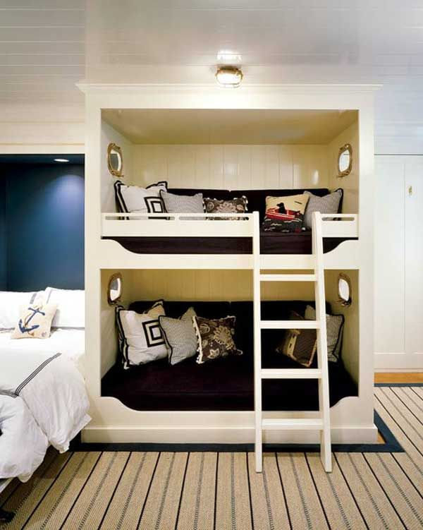 Solid wood BUILT-in bunks..  A great use of space for little ones :)  Please LIKE us on FB:  https://www.facebook.com/HouseOrganized