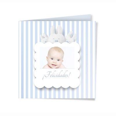 Felicitación de nacimiento personalizada con fotografía. Modelo Conejitos.