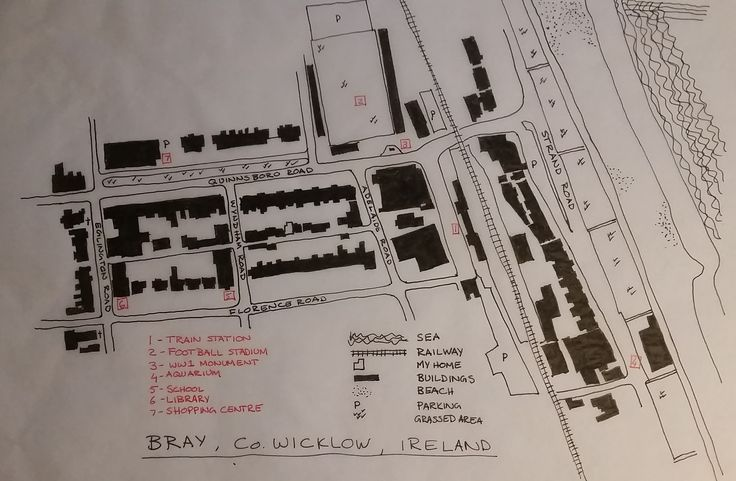 WEEK 1 I am Mary-Anne Parsons, I am an Architect. I grew up in South Africa and now live in Bray, Ireland with my family. I am involved in a number of community and voluntary groups who strive to make our urban environment a better place to live. This trace map deals with the fabric of the built environment, and shows the diversity of same. I have also indicated important buildings and features close to where I live