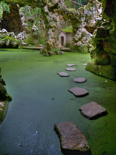 Lago da Cascata at Quinta da Regaleira in Sintra, Portugal (by Phil Blackburn).     Tumblr