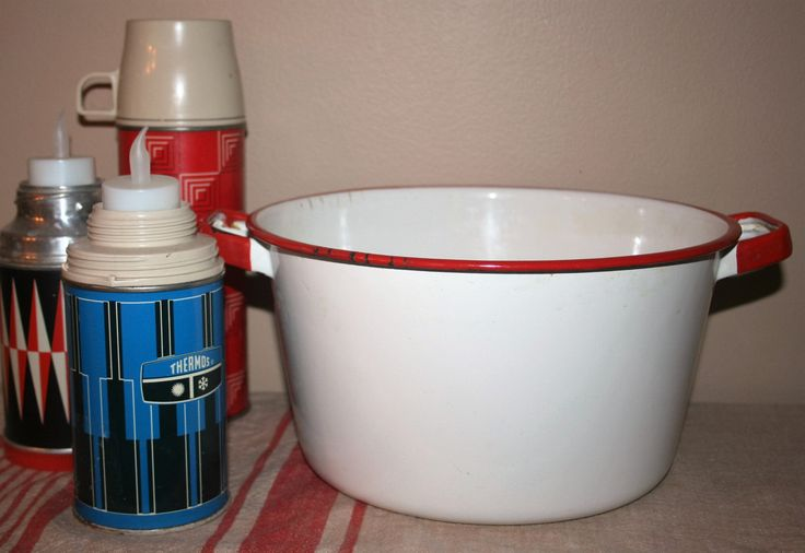 Large Vintage Enamel Stock Pot White with Red Trim Farmhouse Cookware Enamelware by AstridsPastTimes on Etsy