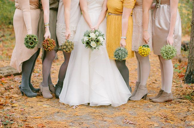 love the different bouquets for each bridesmaid