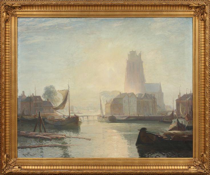 GUSTAVE ALBERT (1866-1905). Kyrkan i Dordrecht. Olja på duk.