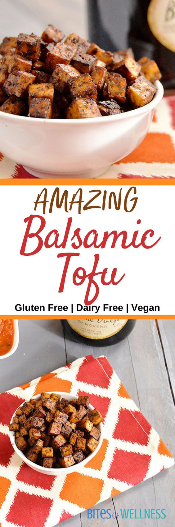 This Balsamic Tofu is tofu like you have never had it! Crispy, not mushy, full of balsamic flavors and pairs perfectly with your favorite Italian dishes! | https://bitesofwellness.com