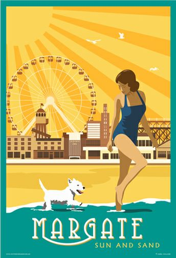 Vitage Margate beach and Dreamland. Prices starting at £12 for A4 print from www.whiteonesugar.co.uk Westie, West Highland White Terrier on the beach with girl in 1940s Bathing costume, swimsuit.