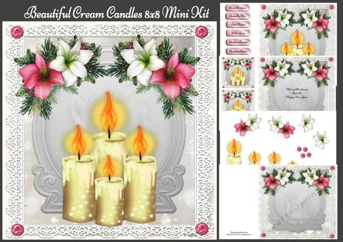 Beautiful Cream Candles 8x8 Mini Kit by Amy Perry Beautiful Cream Candles 8x8 Mini Kit in beautiful silver frame with lace border kit contains 4 sheets the 8x8 card front with choice of tag decoupage and 2 matching inserts one blank and one with small insert