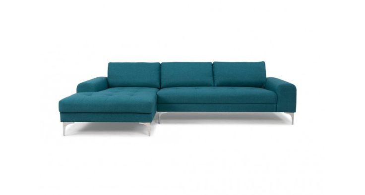 Charlie, 3-seater sofa w/ chaiselong Left, Lora teal blue ...