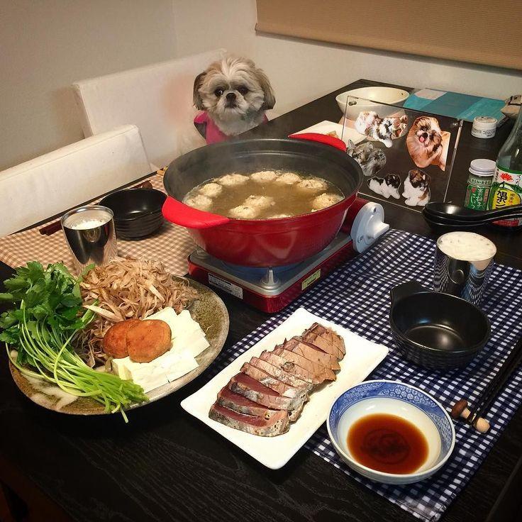 今夜の貴族の晩餐は鶏つくねとささがきゴボウの塩鍋と鰹タタキをヤラカシたよ( ) ではでは( ω)( ω)かんぱーい by mayuge0807