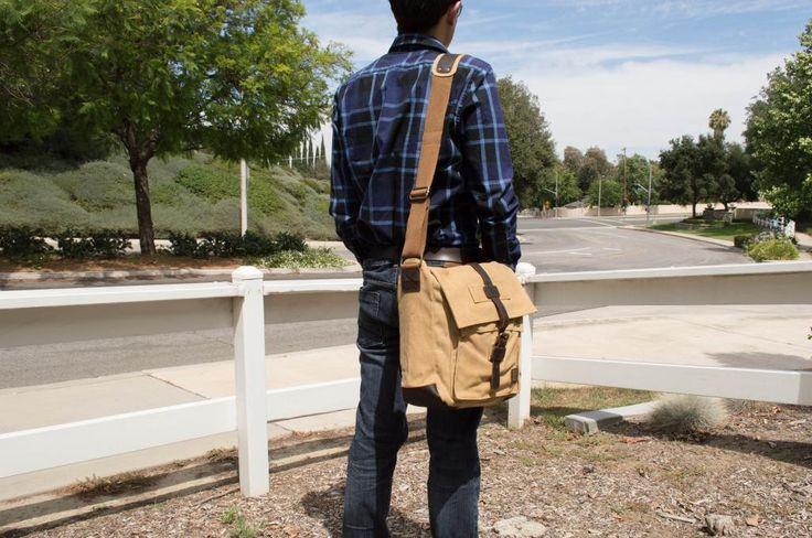 Vintage #Canvas & Leather #Mens Sturdy Vertical #Messenger Bag