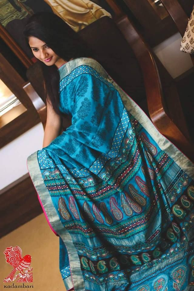 Ethenic Classic Silk Saree  Handwoven, hand block and embroidery by master weavers.