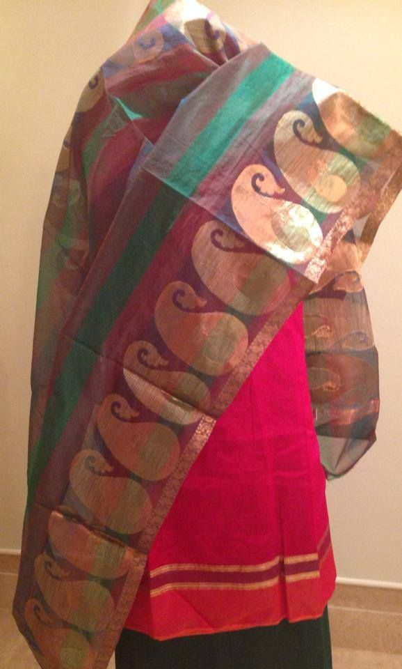 Chanderi shirt and dupatta with woven zari. For orders and inquiries, please mail us at naari@aninditacreations.com.  Like us at www.facebook.com/naari.aninditacreations
