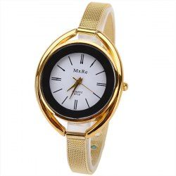 $5.00 MxRe Quartz Watch with Strips Hour Marks Steel Watch Band for Women - Golden