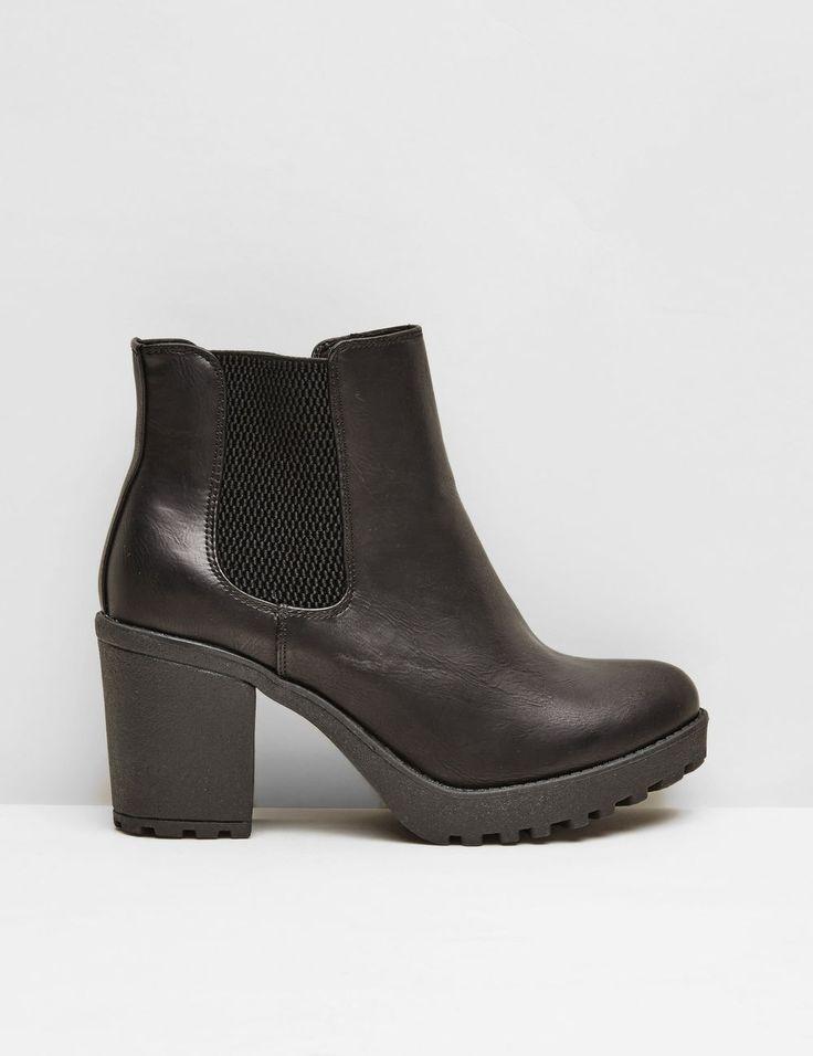 noir Jennyfer ✓ Chaussures bottines crantées femme, noir, détail élastiqué  côtés, talons 7 cm.
