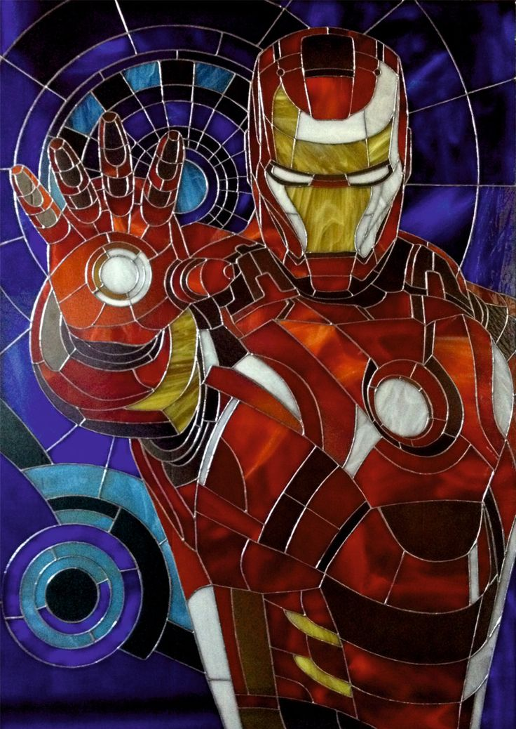 """Stained glass picture """"Iron man """" by TheStainedGlassCo on Etsy"""
