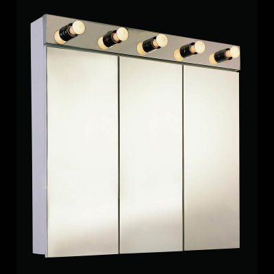 triview surface mount medicine cabinet with integral light fixture and optional light strip ketc170