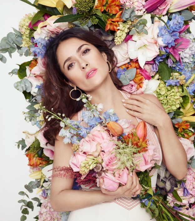Mexican actress Salma Hayek is the March 2015 cover star of L'Officiel Paris, wearing a colorful look on the cover photographed by Daniel Smith Thomas. In the images she is shown wearing looks from Gucci with fashion editing by Vanessa Bellugeon and styling by Corinne Lucquiaud. Posing with flowers in hand, Salma reminds us that spring is just around the corner!    Images: L'Officiel Paris/Daniel Smith ...