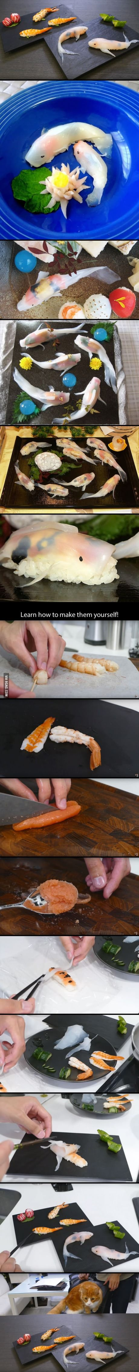 日本人のごはん/お弁当 Japanese meals/Bento 錦鯉鮨  This Guy Makes Sushi That Looks Like Real-Life Koi In A Few Simple Steps