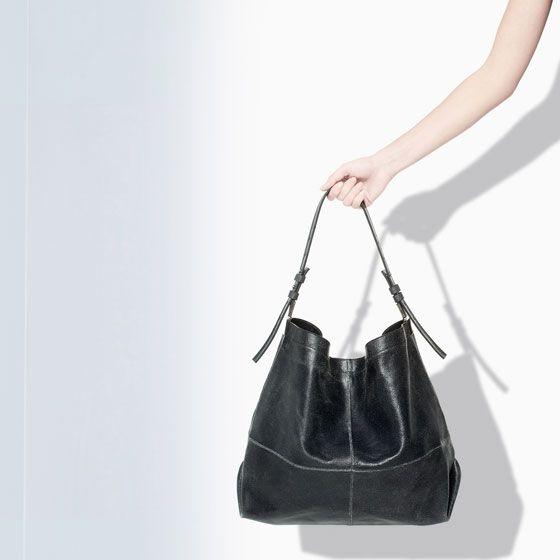 ZARA - WOMAN - CRACKED LEATHER BUCKET BAG