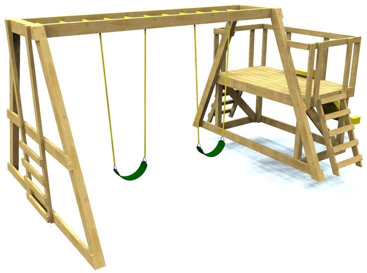 Best 25 wooden playset ideas on pinterest wooden fort for Creative swing set ideas