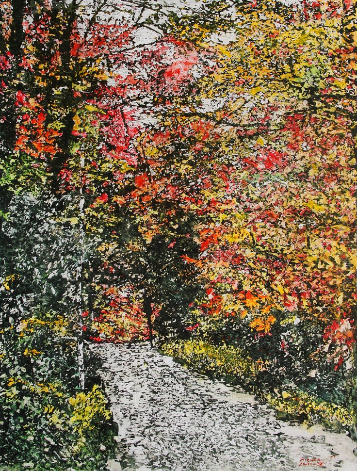 "road thru fall 39   36"" x 24""  micheal zarowsky mixed media (watercolour / acrylic painted directly on gessoed birch panel) / private collection"