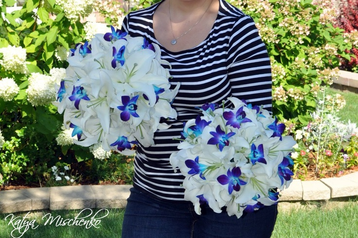 White lily and blue dyed orchid bridal bouquets.  Katya Mischenko Custom Florals on Facebook