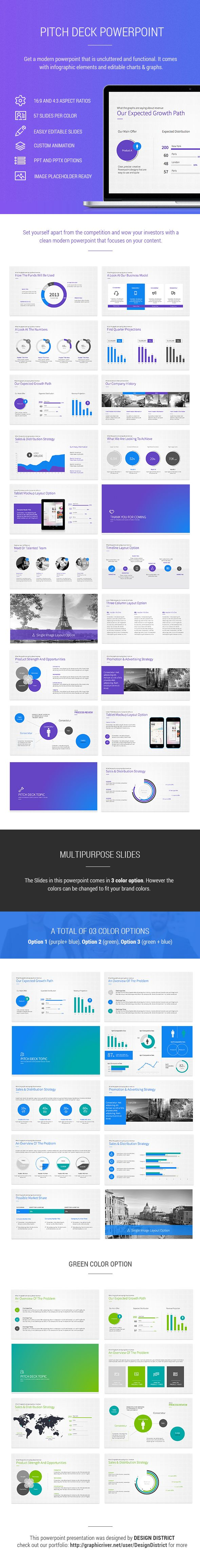 Pitch Deck Powerpoint by Design District, via Behance