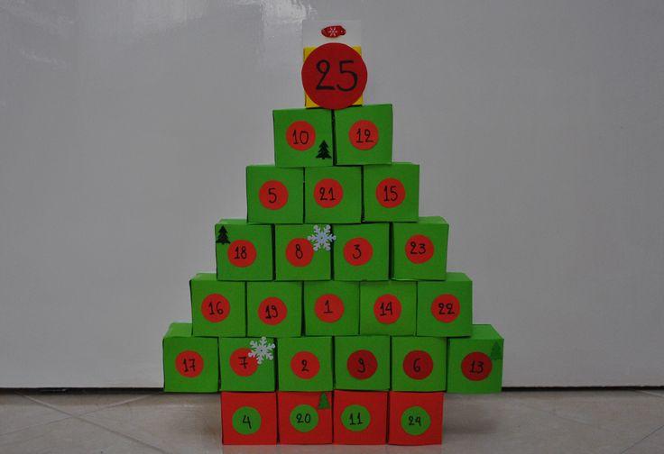 DIY Christmas tree advent calendar. Handmade by me