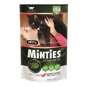The vet recommended, total dental solution for your cat is here—Minties Dental Treats for Cats. The triple-action formula fights plaque and tarter buildup, freshens breath, and cleans your cat's teeth. Minties are free of several ingredients that may caus