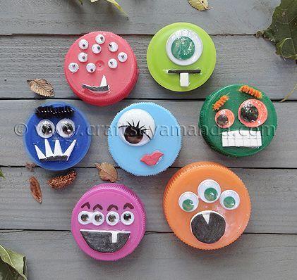 #recycling #crafts for #kids Imanes de nevera para niños