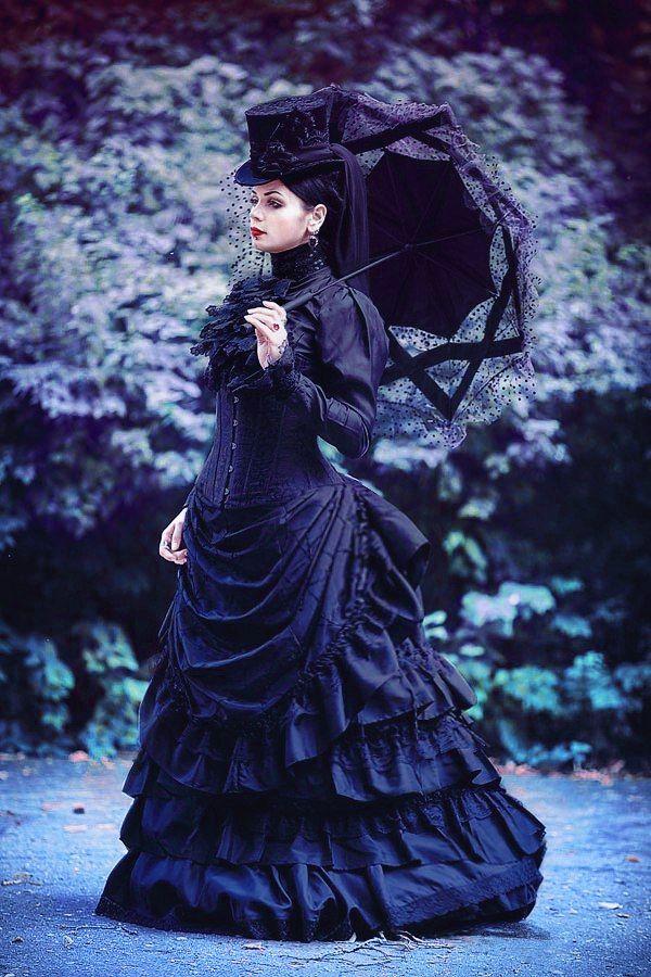 victorian gothic girl with a parasol Costume designer: Katherine Baumgertner