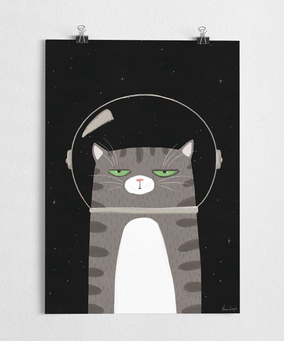 Space cat art print with a cute grey cat with a space helmet.  High quality print made on 250g fine paper with a large format Epson printer. Sizes