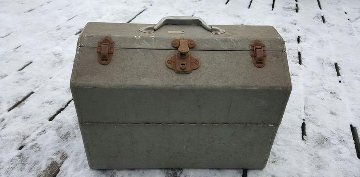 Vintage Galvanized Metal Fishing Tackle Box Antique Tackle Box Large Metal Tackle Box 1950's Tackle Box Fishing Equipment Fishing Tackle Box by ANTFOUNDANTIQUES on Etsy