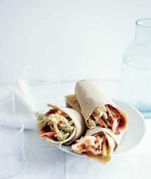 Ham and Pineapple Slaw Wraps (use gluten free ham, tortillas)