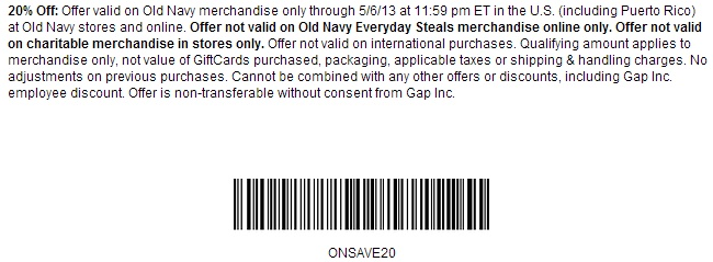 Old Navy Printable Coupon and Promo Code to save 20% OFF of your total, use this coupon to save by May 6