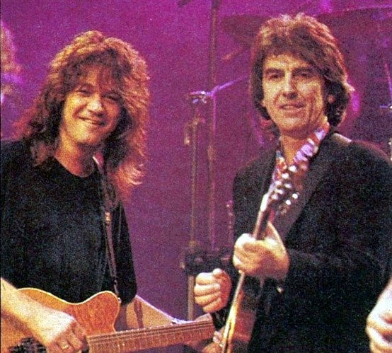 Photo of Eddie Van Halen & his friend musician  George Harrison - Van Halen